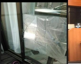 【施工前】静岡県浜松市北区の戸建にてこじ破りによるガラス交換